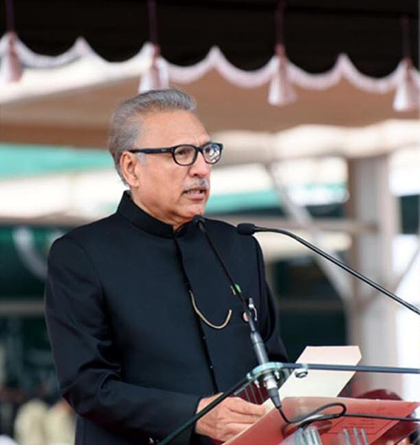 President Alvi delivers his speech. — PTI official Twitter account