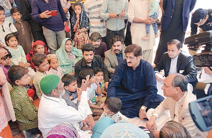 CM Shah condoles with the family of the slain policeman on Saturday.—PPI