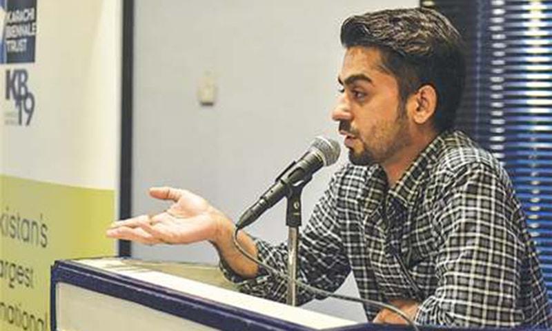 DOSTAIN Baloch speaks at the Alliance Française on Friday.—White Star