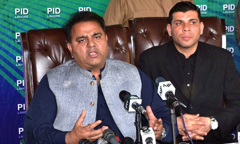 Federal Minister for Information and Broadcasting Chaudhry Fawad Hussain addressing a press conference on Sunday. — APP