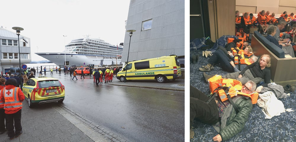NORWEGIAN cruise ship Viking Sky (left) arrives at a port in Norway on Sunday after it got stranded off the country's western coast in heavy seas the previous day. Rescue helicopters winched more than 475 passengers one-by-one to safety as heaving waves tossed the ship from side to side and high winds buffeted the operation. The vessel at last departed for the nearby Molde port under escort and with nearly 900 people still on board.—AP