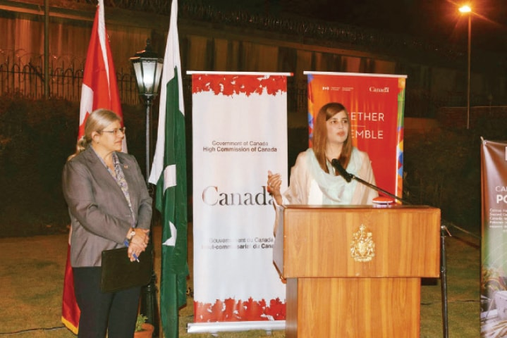 Minister of State Zartaj Gul speaks at the Canadian High Commission reception in Islamabad. High Commissioner Wendy Gilmour is also seen.