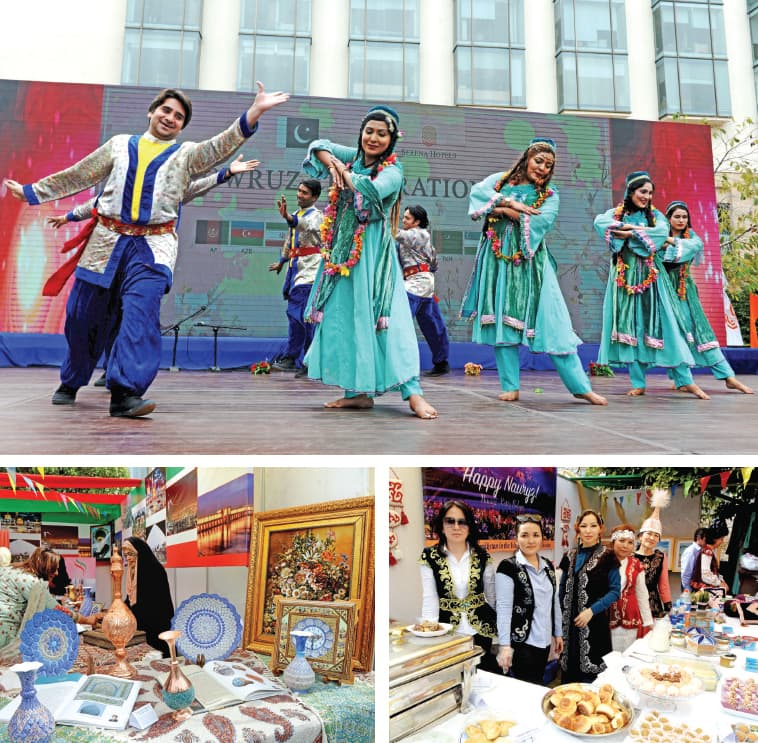 (Clockwise from top) Artists present a traditional dance, women serve food at the Kazakhstan stall and Iranian items on display at the event celebrating Nowruz on Sunday. — White Star