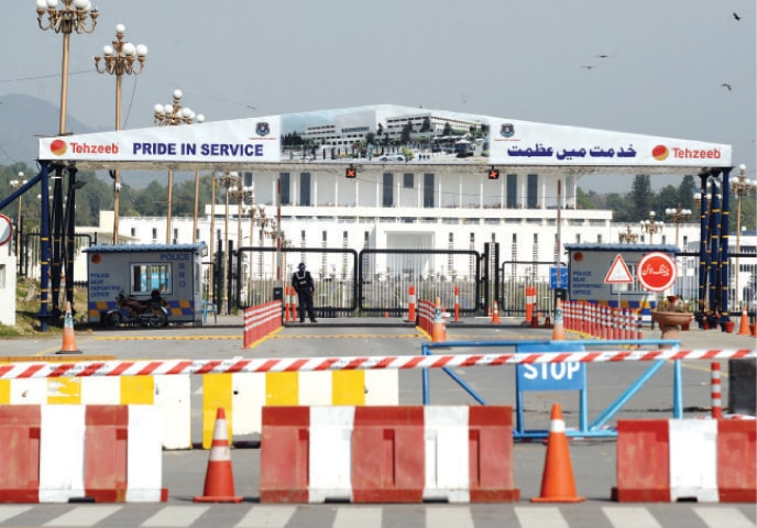 D-Chowk was closed to traffic as part of measures taken under 'red alert' following Balakot incident. — White Star