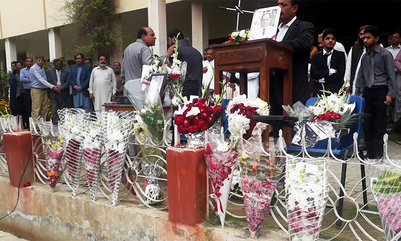A memorial event is held at Bahawalpur's Government Sadiq Egerton College for slain Professor Khalid Hameed. ─ Photo by author