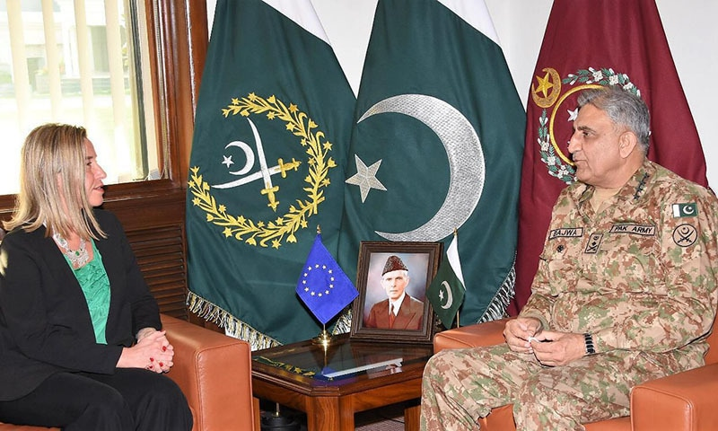 European Union Foreign Policy Chief Federica Mogherini calls on Chief of Army Staff Gen Qamar Javed Bajwa. — Photo courtesy ISPR