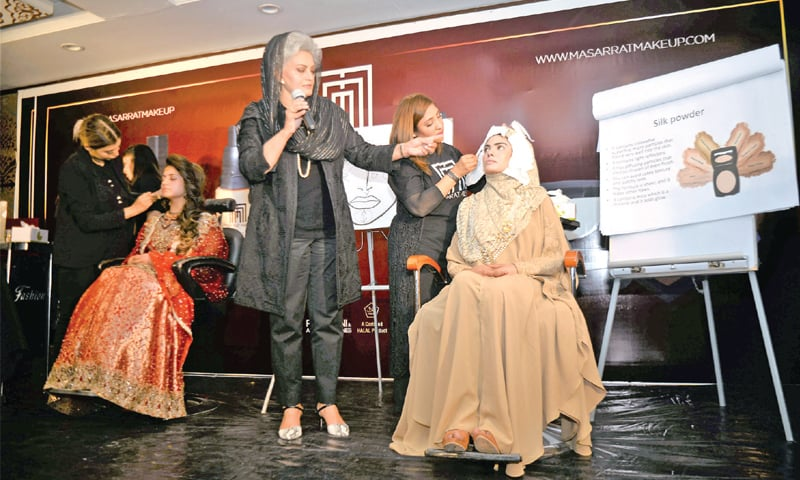 Top beautician Musarrat Misbah speaks in a daylong training session in Peshawar on Wednesday. — White Star