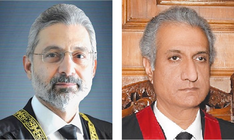 JUSTICE Qazi Faez Isa (left),  Justice Ijaz-ul-Ahsan