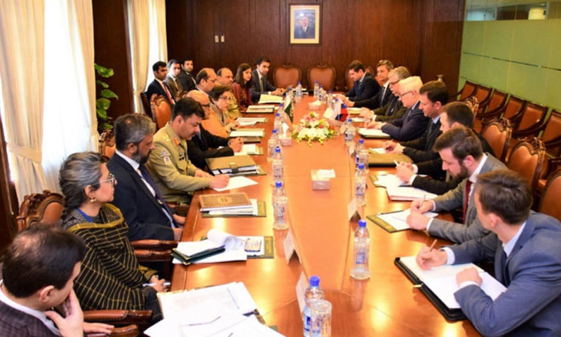 Foreign Secretary Tehmina Janjua and Deputy Foreign Minister of Russia Sergey Ryabkov led their respective delegations. — Photo courtesy Radio Pakistan
