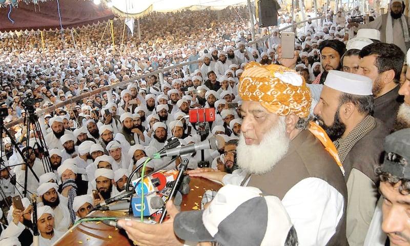 JUI-F chief Maulana Fazlur Rehman addresses a ceremony at a seminary in Peshawar on Thursday. — White Star