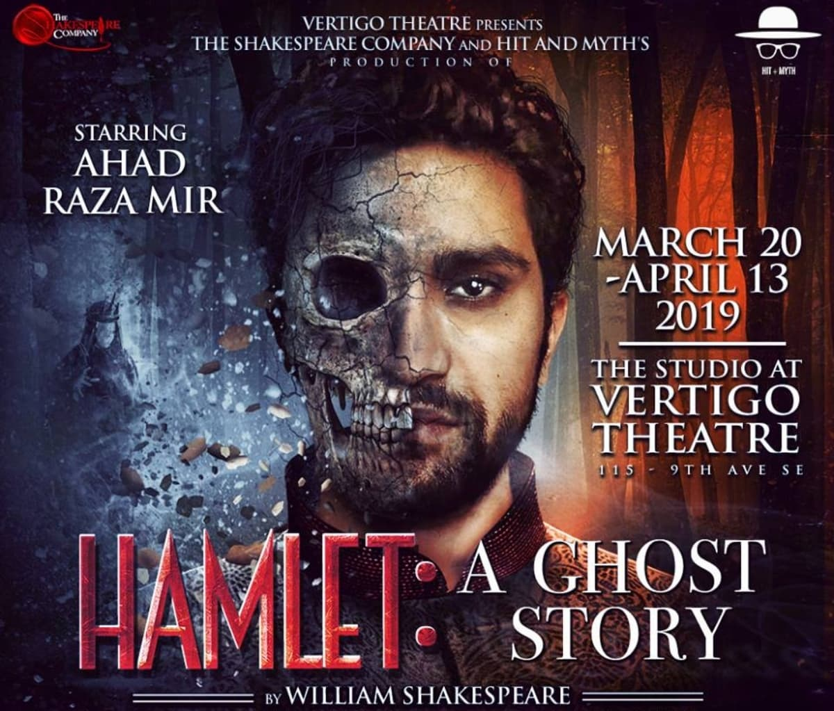 Ahad on the poster of the Hamlet production by The Shakespeare Company in Calgary