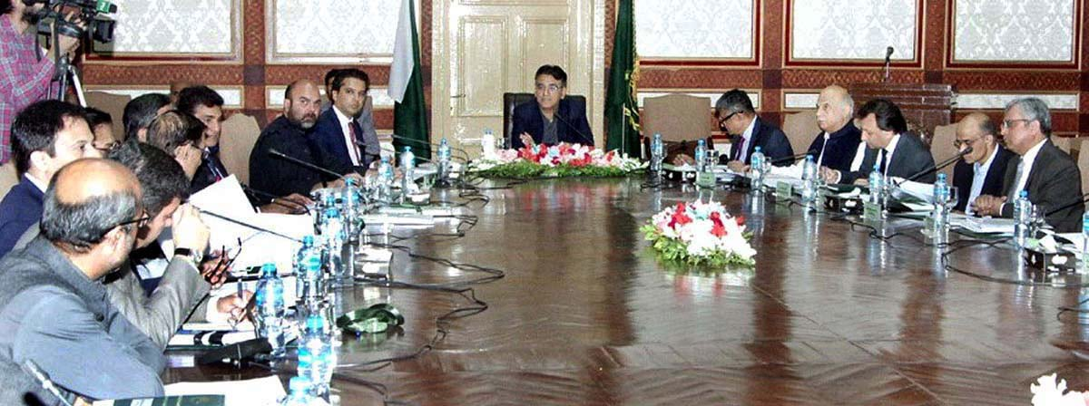 Minister for Finance Asad Umar chairing the 5th meeting of the NFC. — APP