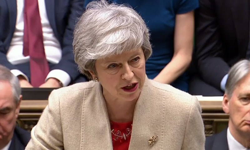A video grab from footage broadcast by the UK Parliament's Parliamentary Recording Unit (PRU) shows Britain's Prime Minister Theresa May making a statement in the House of Commons in London on March 29, 2019 after MPs rejected her EU Withdrawl deal for a third time. — AFP