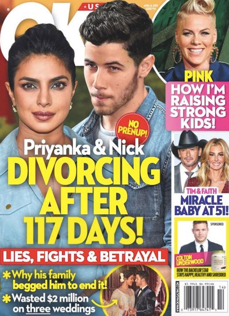 اوکے میگزین نے دونوں کی طلاق کی رپورٹ شائع کی—اسکرین شاٹ