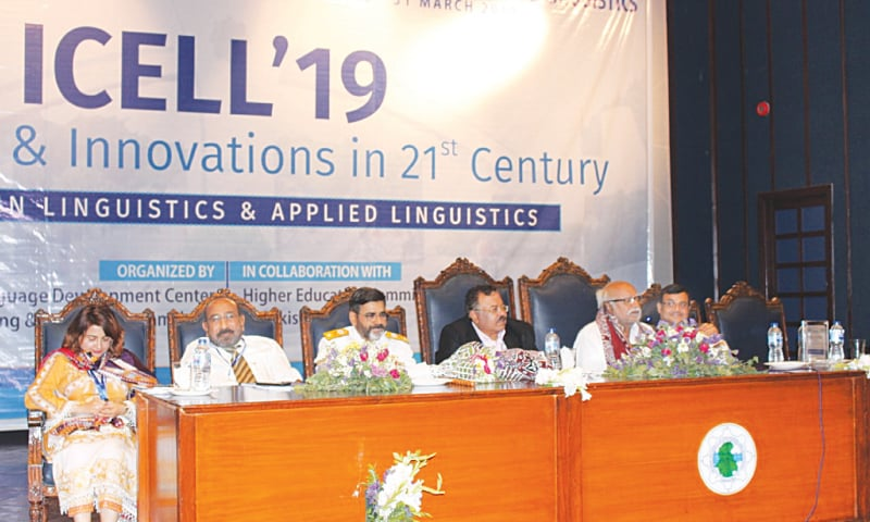 PROCEEDINGS of the conference under way at MUET in Jamshoro on Saturday.—Dawn