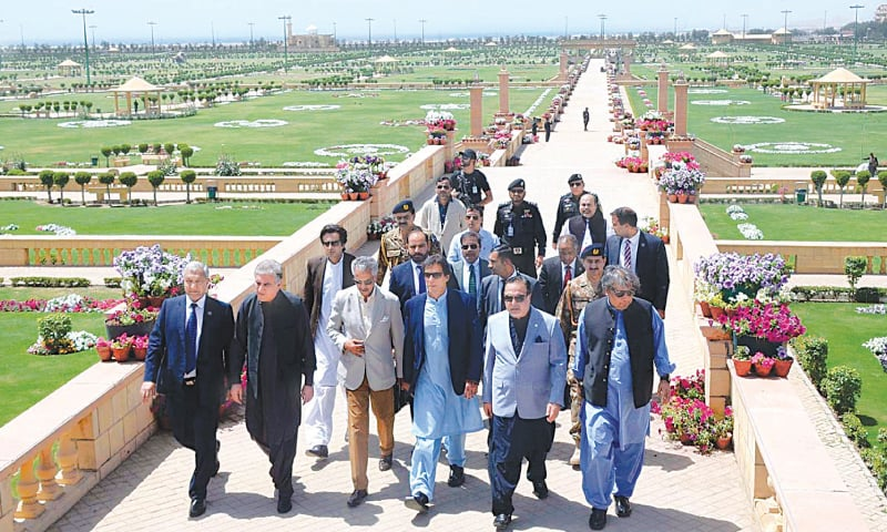 THE prime minister takes a round of the newly renovated Bagh Ibne Qasim on Saturday.—APP