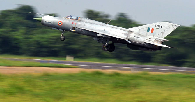 An Indian MiG-21 aircraft takes off. — AFP/File