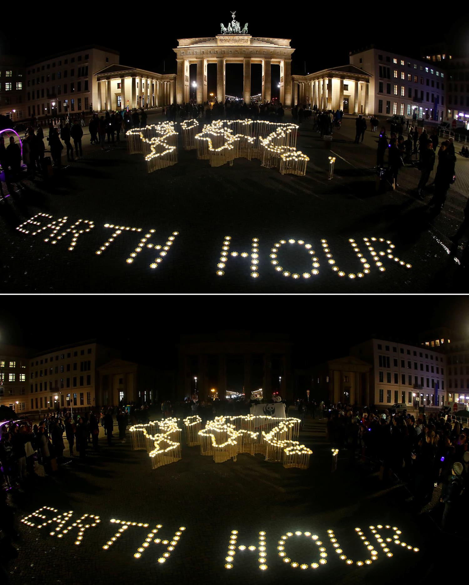 A combination photo shows the Brandenburg Gate before and during Earth Hour in Berlin, Germany. ─ Reuters