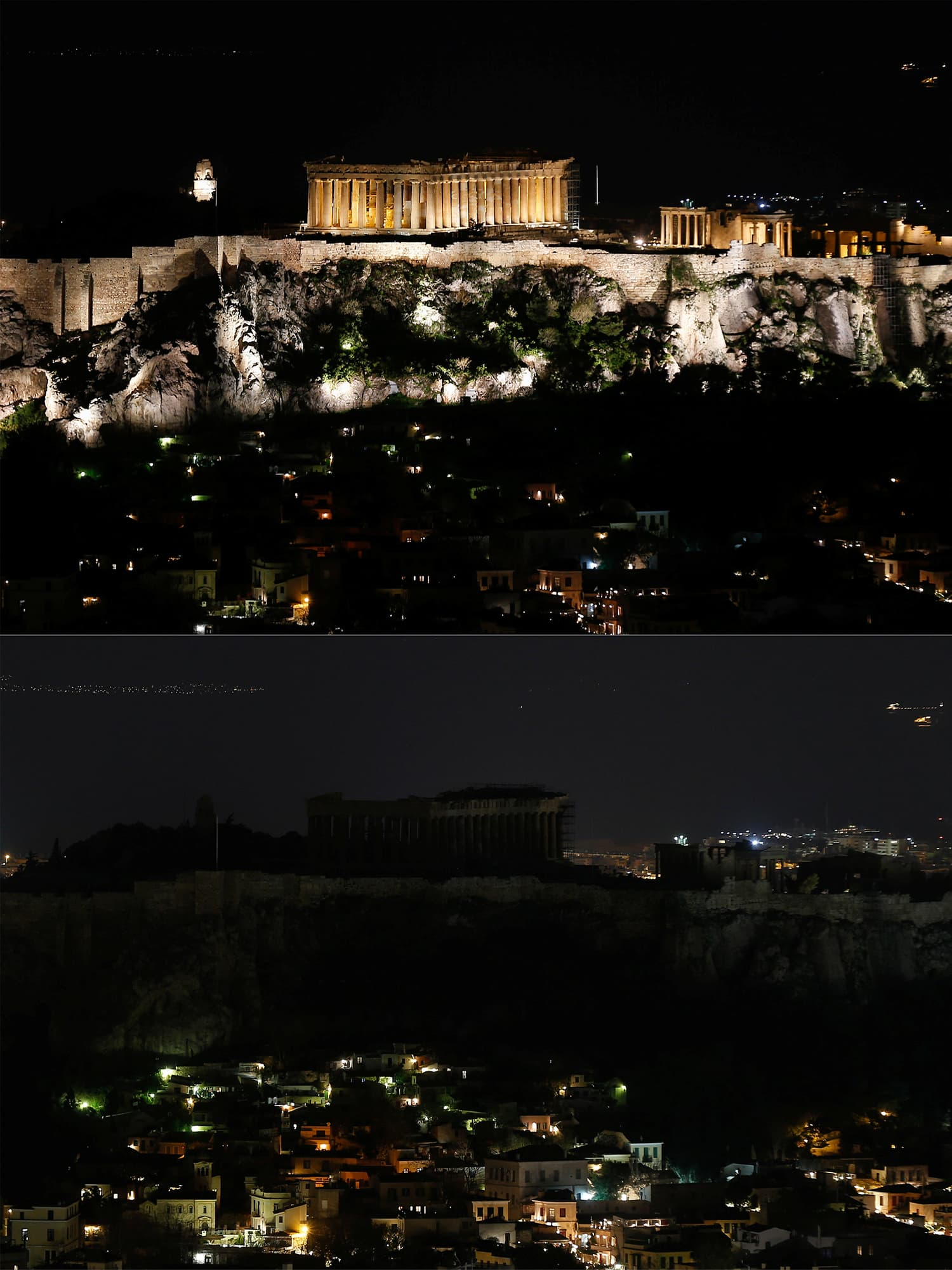 A combination photo shows a view of the ancient Parthenon temple atop the Acropolis hill before (top) and during Earth Hour in Athens, Greece. ─ Reuters