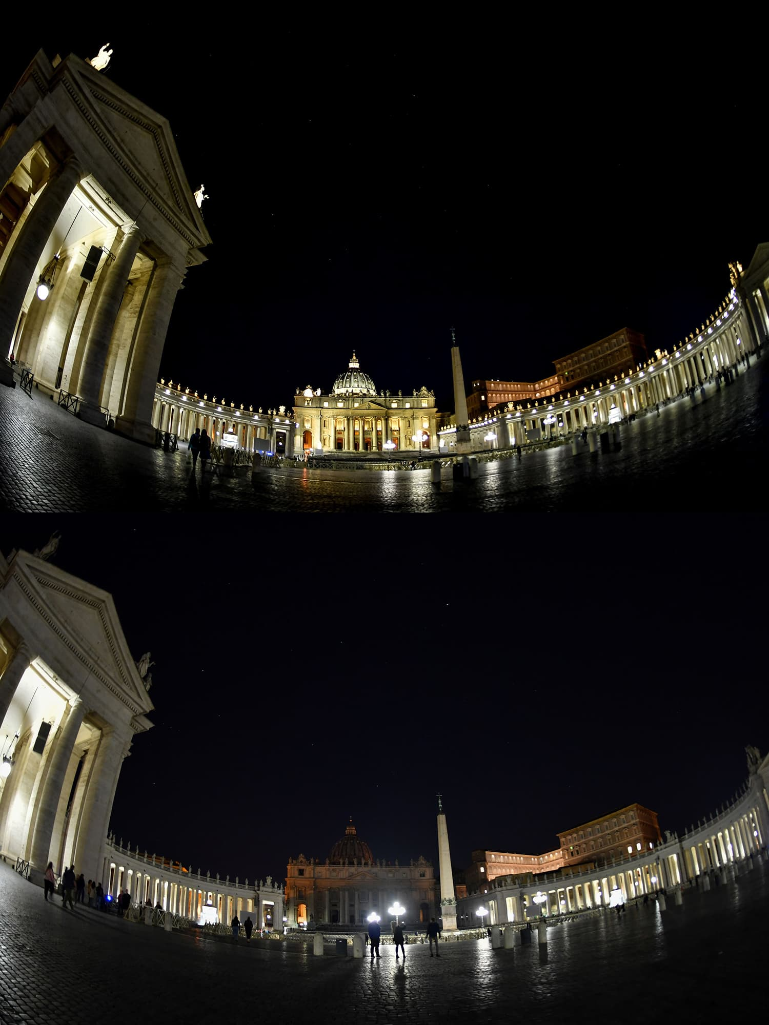 This combination of photos created on March 30, 2019, shows St Peter's Basilica before (top) and after (bottom) being plunged into darkness for Earth Hour in the Vatican on March 30, 2019. ─ AFP