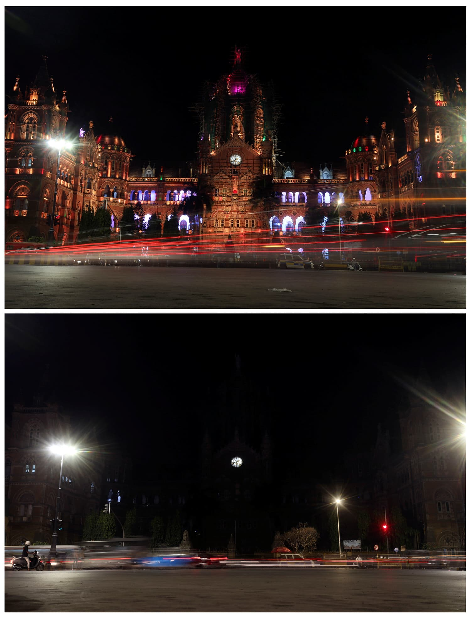 A combination photo shows the Chhatrapati Shivaji Maharaj Terminus (CSMT), formerly known as Victoria Terminus, before (top) and after the lights were turned off for Earth Hour in Mumbai, India. ─ Reuters