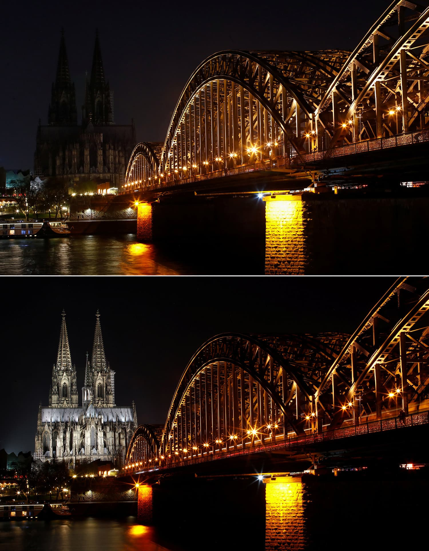 A combination photo shows the Unesco World Heritage Cologne Cathedral and the Hohenzollern railway bridge along the River Rhine during Earth Hour in Cologne, Germany. ─ Reuters