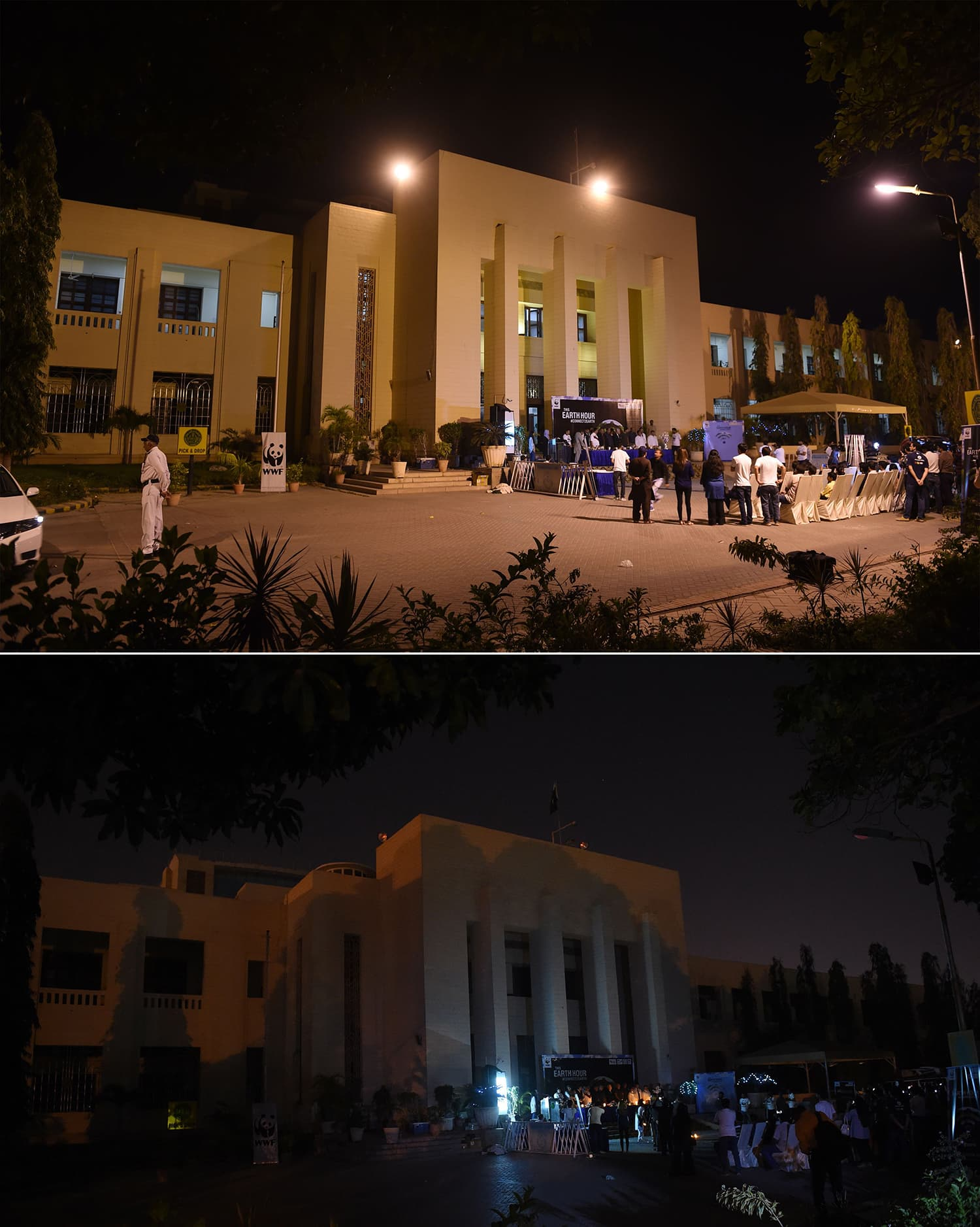 This combination of pictures created on March 30, 2019, shows Pakistanis gathering in front of the Sindh Assembly during Earth Hour in Karachi organised by WWF. ─ AFP