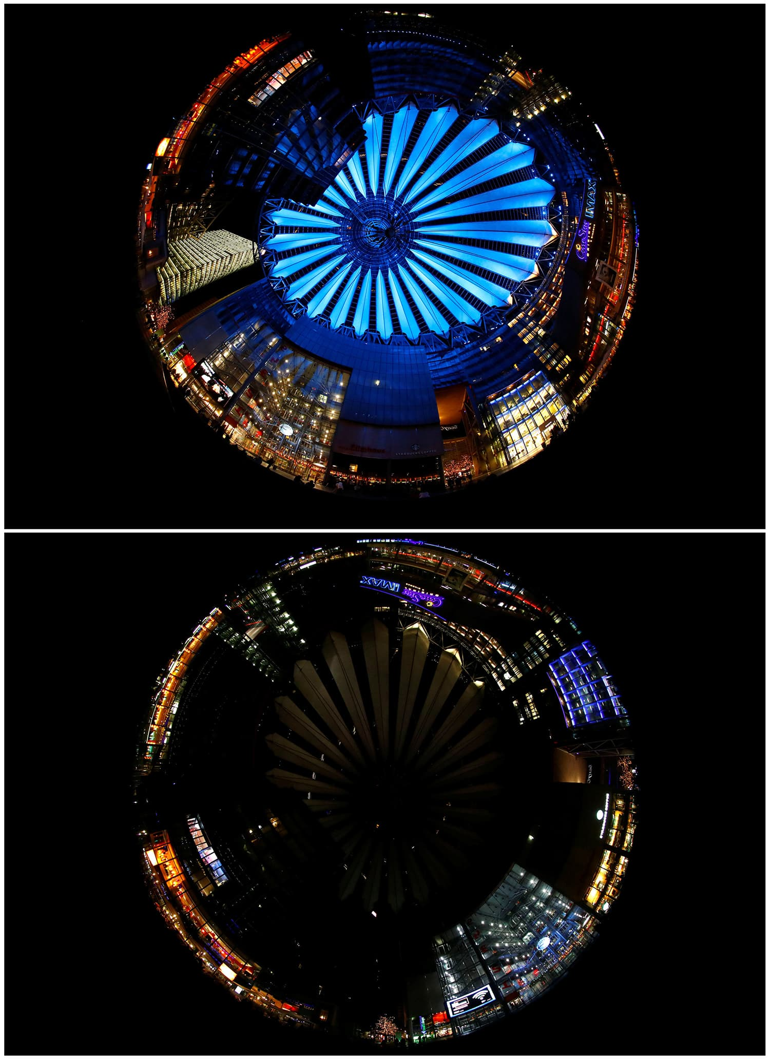A combination photo shows the Sony Center at the Potsdamer Square before (top) and during Earth Hour in Berlin, Germany. Picture taken with fish-eye lens. ─ Reuters