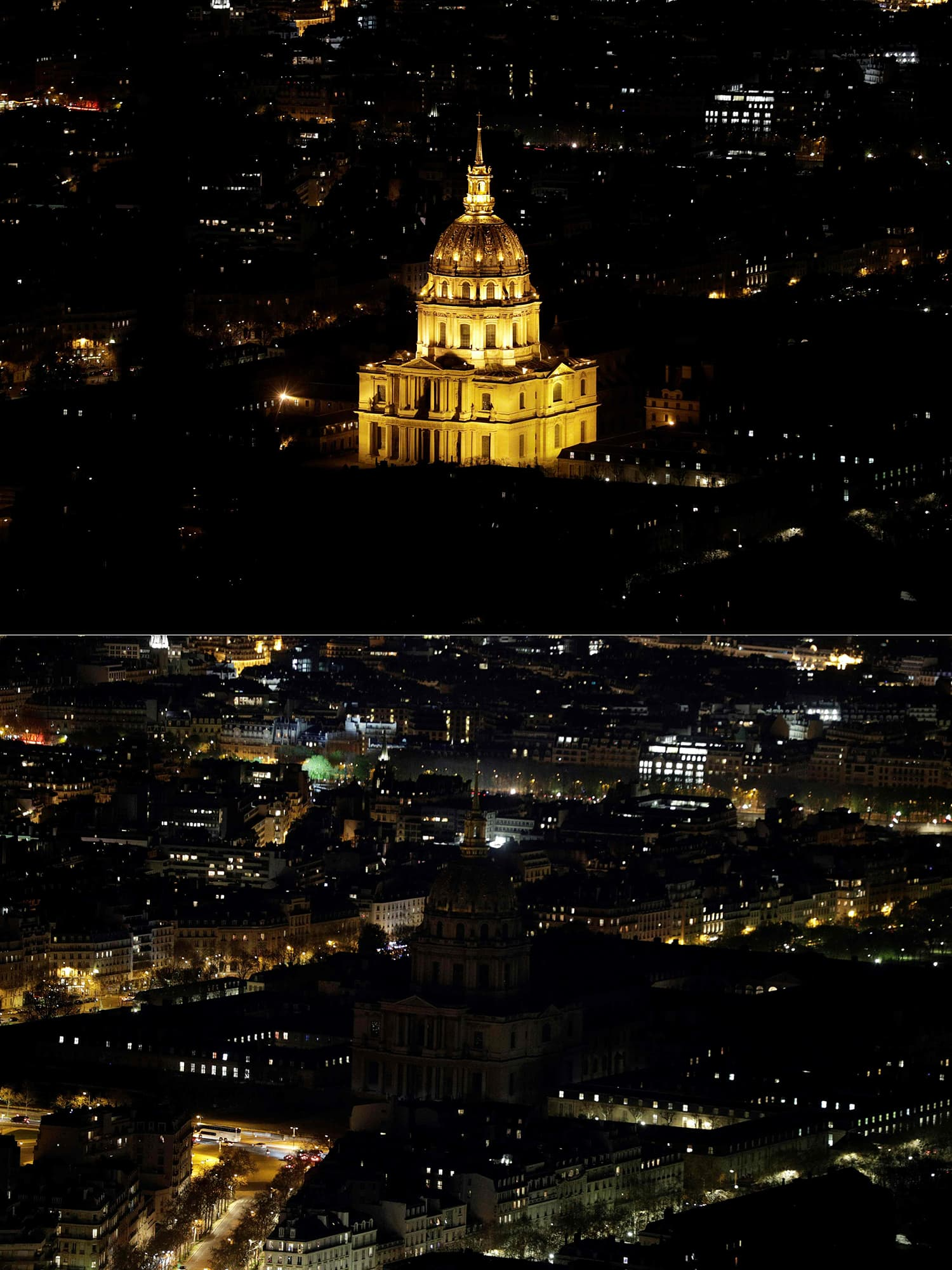 This combination of pictures shows Les Invalides illuminated (up) in Paris and switched-off (down) during Earth Hour organised by WWF. ─ AFP