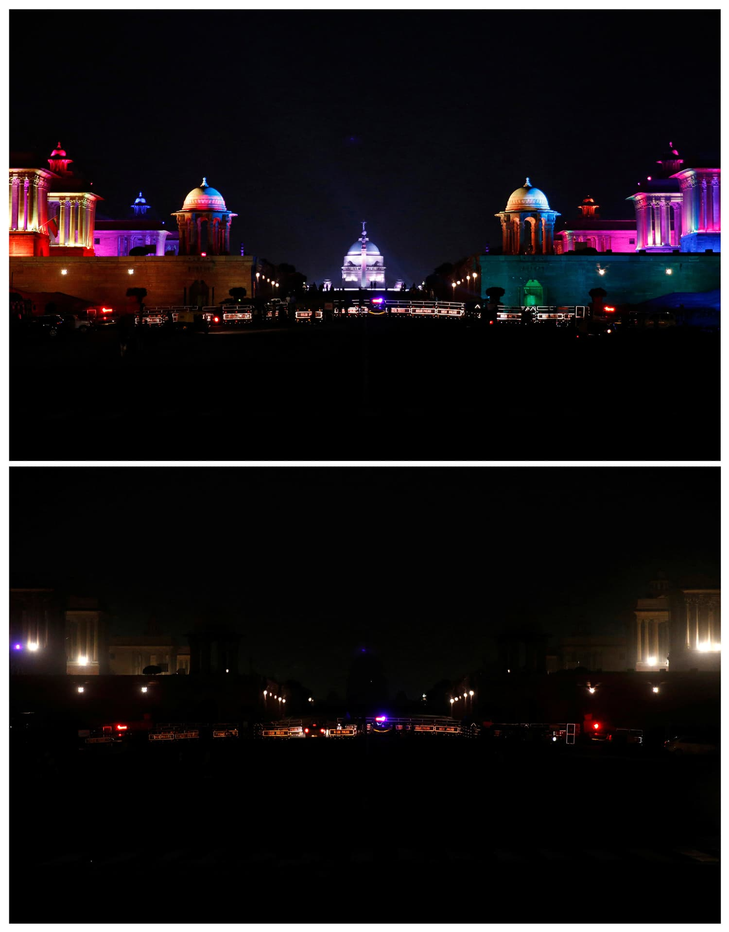 A combination photo shows the Indian Defence Ministry, Presidential Palace and Home Ministry buildings before (top) and after the lights were turned off for Earth Hour in New Delhi, India. ─ Reuters