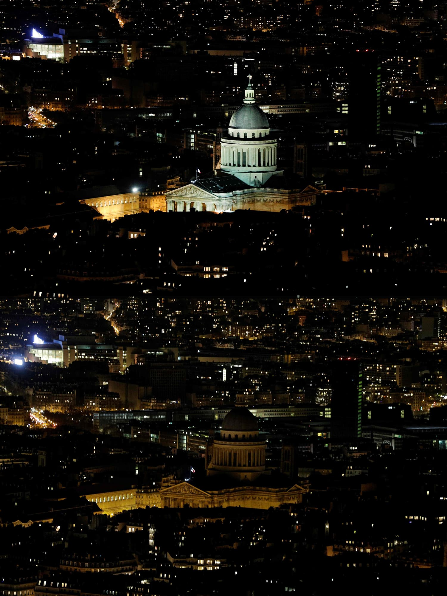 This combination of pictures shows the Pantheon in Paris illuminated (up) and switched-off (down) during Earth Hour. ─ AFP