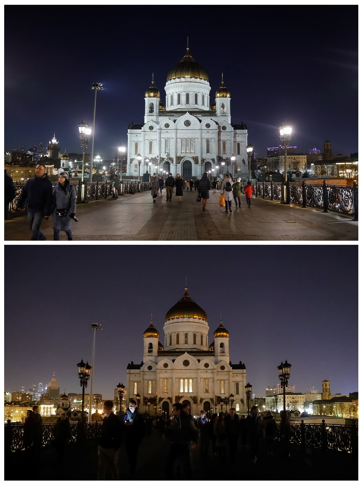 A combination photo shows the Cathedral of Christ the Saviour before (top) and during Earth Hour in Moscow, Russia. ─ Reuters