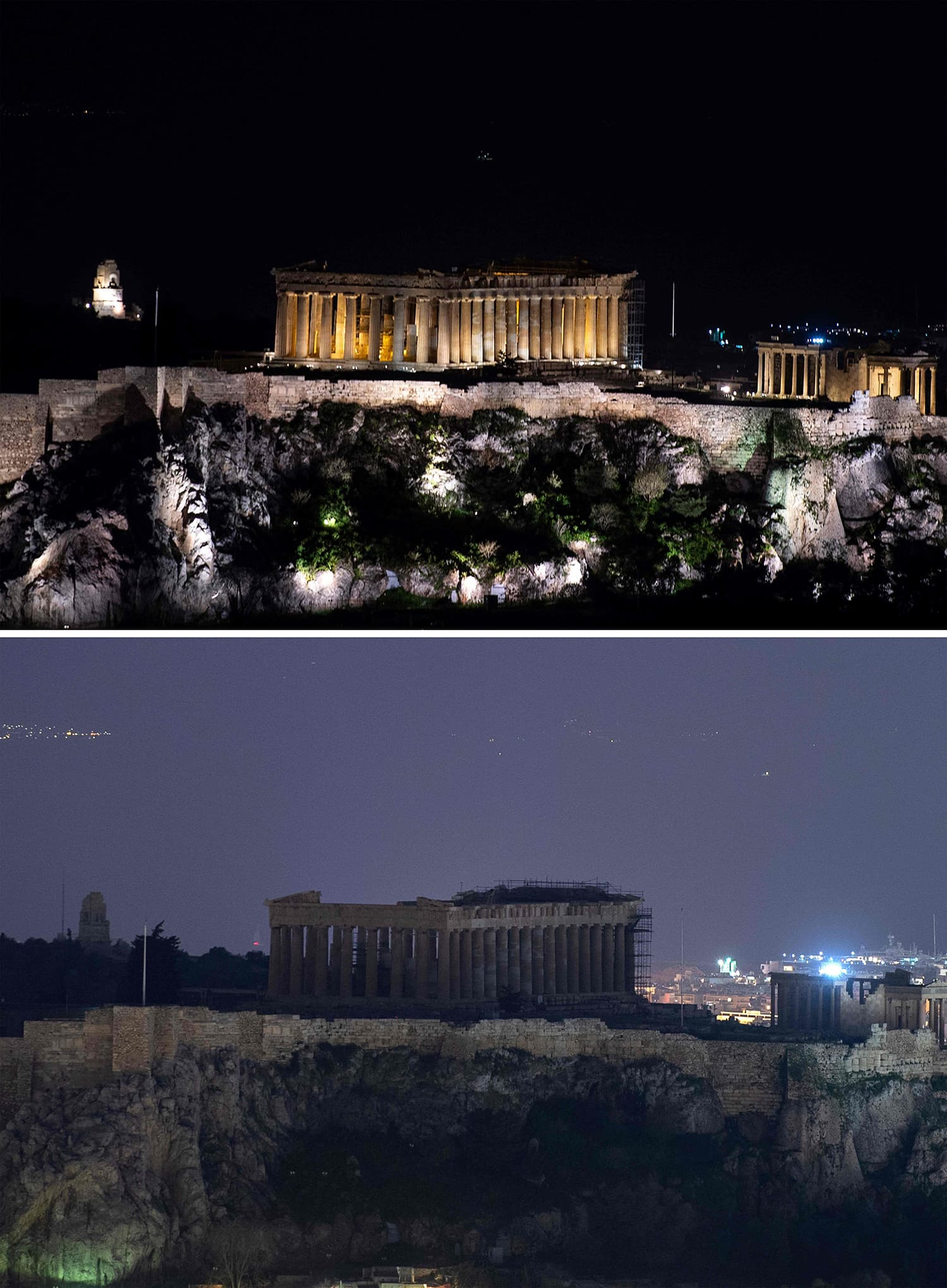 A combination of photos shows the ancient Acropolis with lights on (up) and off (bottom) during Earth Hour in Athens on March 30, 2019. ─ AFP