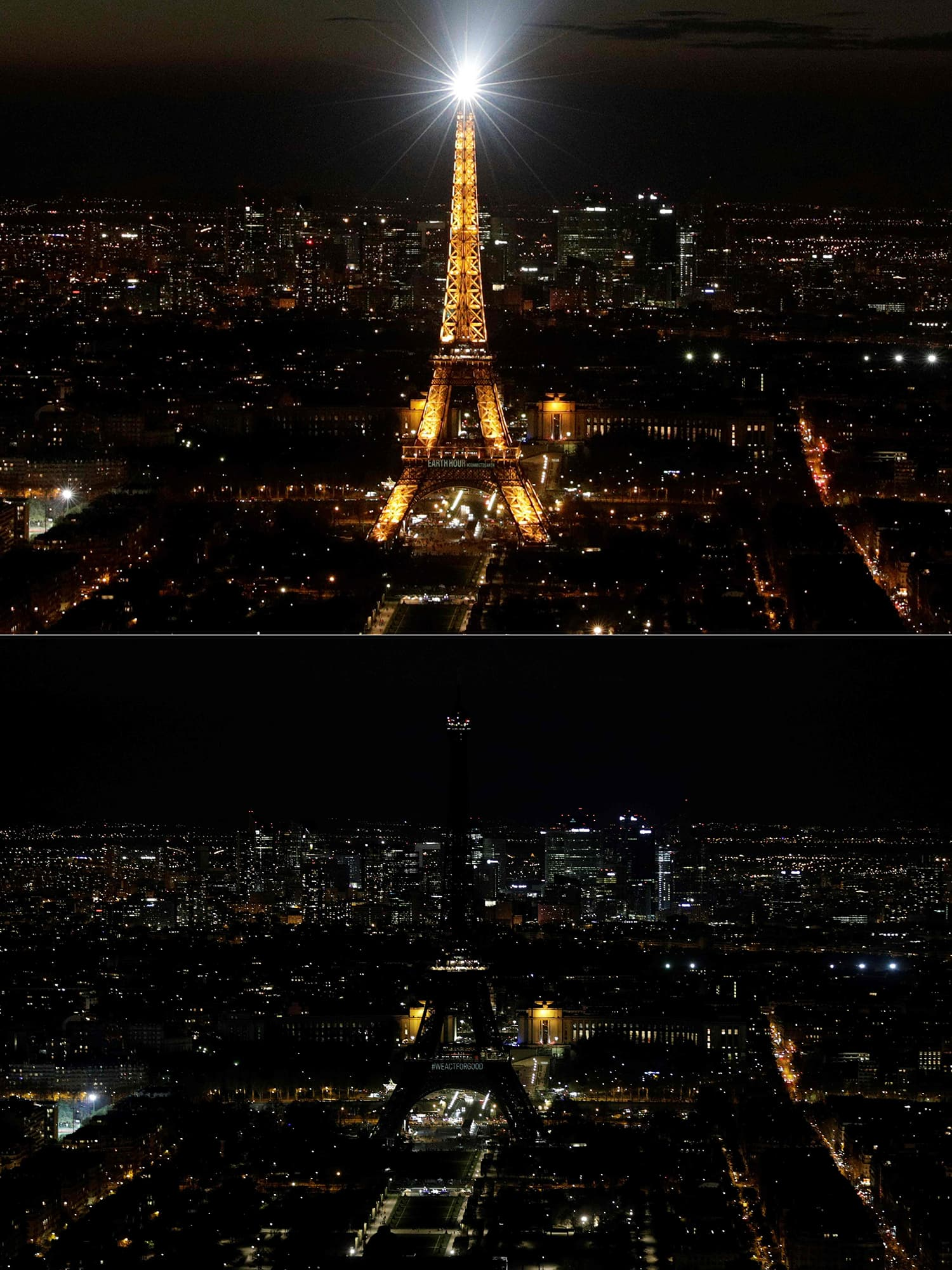 This combination of pictures shows the Eiffel Tower illuminated (up) in Paris and switched-off (down) during Earth Hour organised by the World Wildlife Fund. ─ AFP