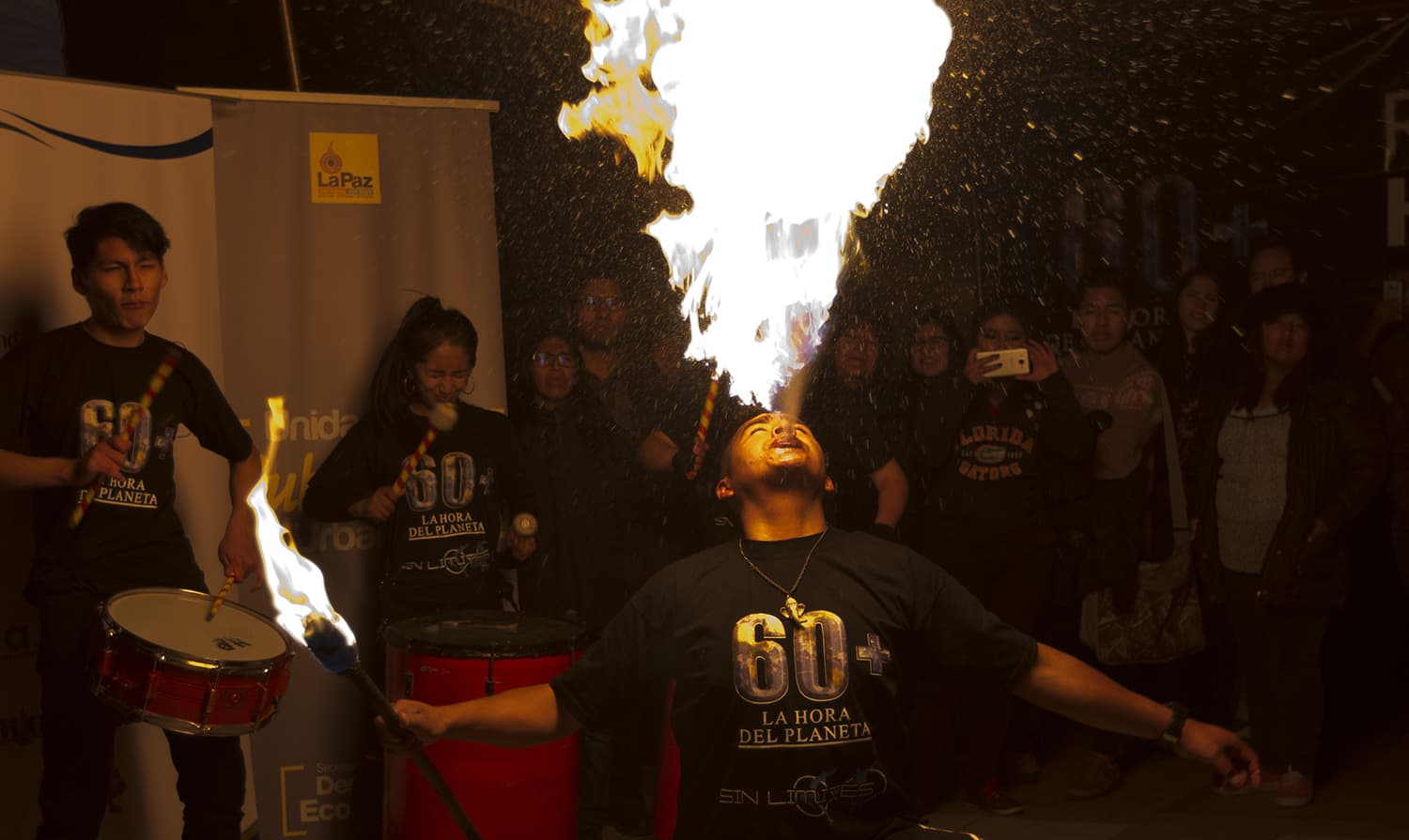 A fire eater performs during the Earth Hour celebrations in La Paz, Bolivia. ─ AP