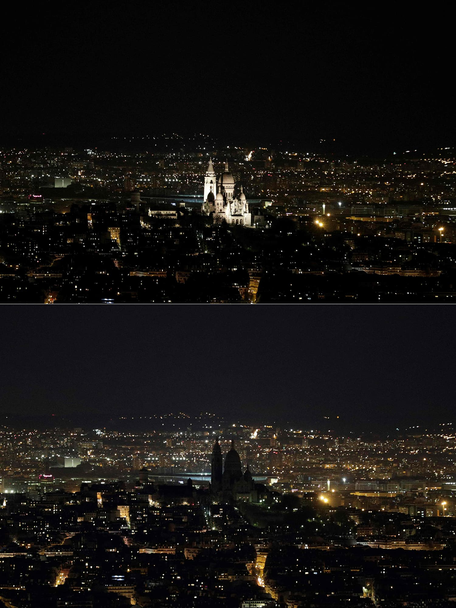 This combination of pictures shows the Basilica of the Sacred Heart of Paris, also known as the Sacre-Coeur Basilica, illuminated (up) and switched-off (down) during Earth Hour. ─ AFP