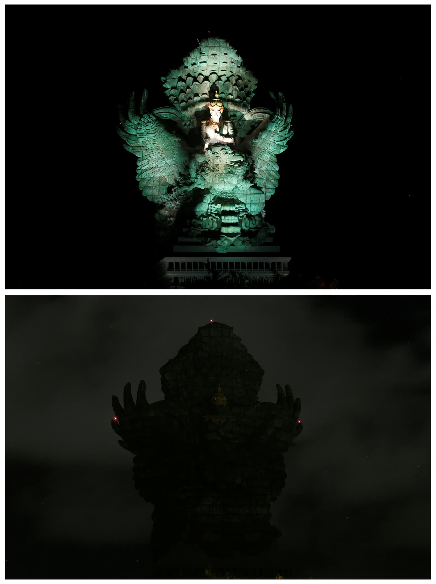 A combination photo shows the landmark statue of Garuda Wisnu Kencana before and after being switched off for Earth Hour in South Kuta in Bali, Indonesia. ─ Reuters