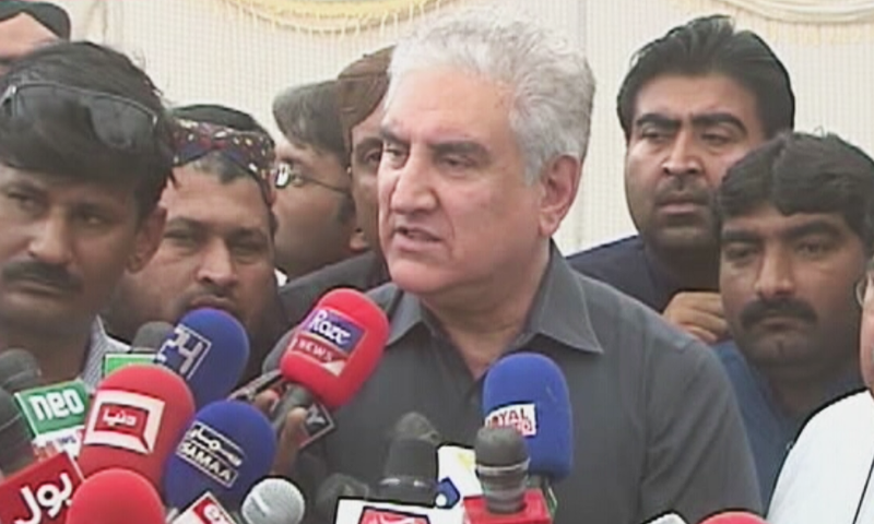 Foreign Minister Shah Mahmood Qureshi speaks to reporters in Multan on Sunday. ─ DawnNewsTV