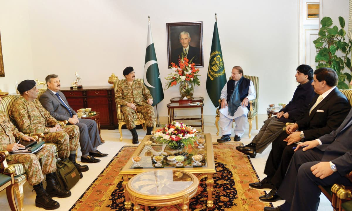 Former prime minister Nawaz Sharif and former chief of army staff Raheel Sharif during a meeting | APP