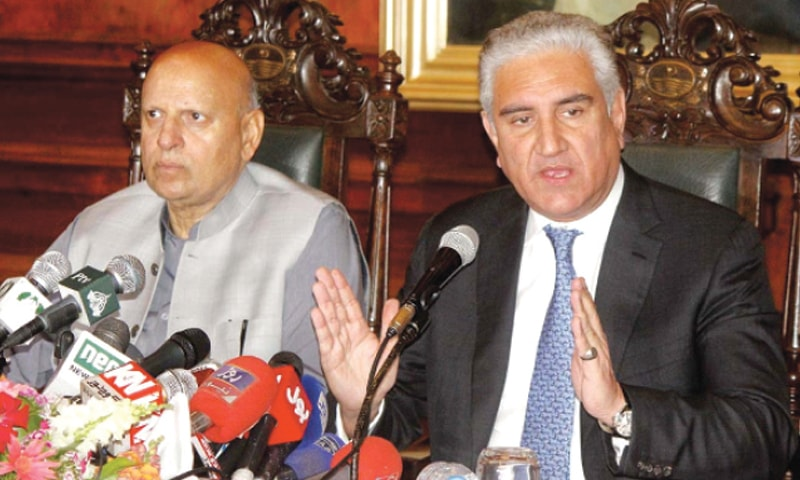 Foreign Minister Shah Mehmood Qureshi and Punjab Governor Chaudhry Sarwar pictured during the press conference.—APP