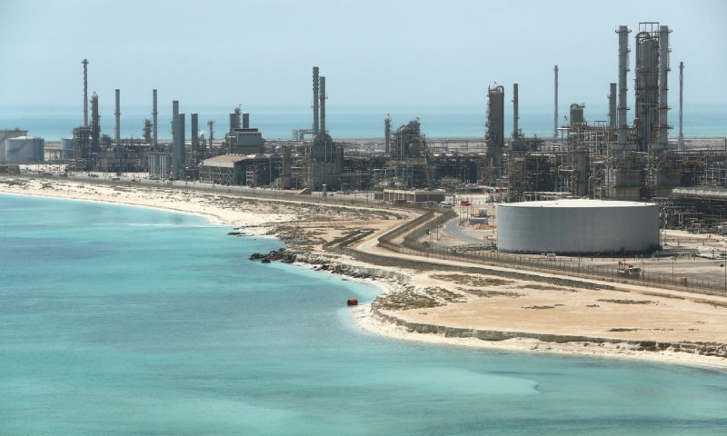 AN aerial view of Saudi Aramco's Ras Tanura oil refinery and oil terminal.— Reuters