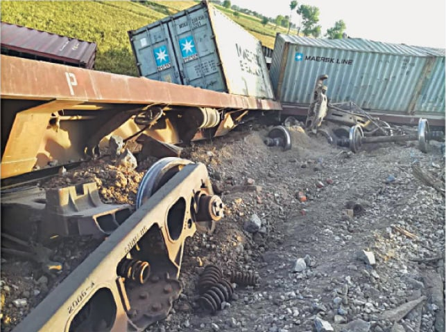 RAHIM YAR KHAN: The bogies of a freight train which derailed on Monday.—Dawn