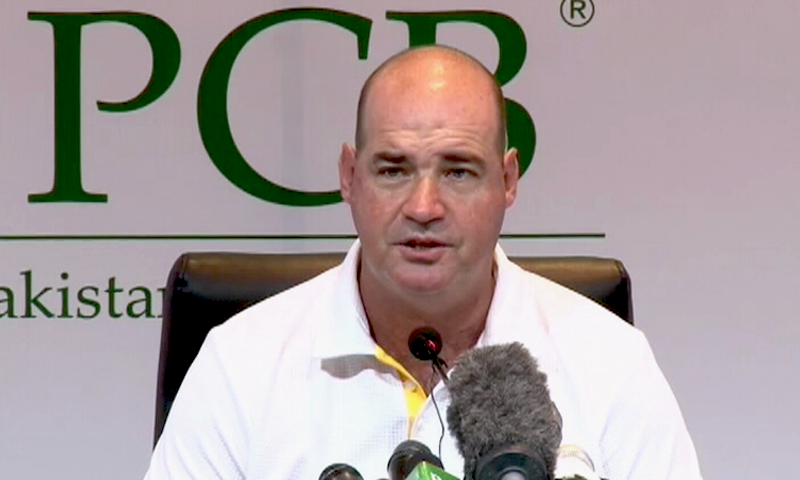 Coach Micky Arthur addressing a press conference on Tuesday. — DawnNewsTV