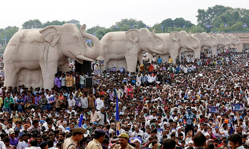 People attend an election campaign rally of Bahujan Samaj Party (BSP) chief Mayawati. ─ Reuters/File