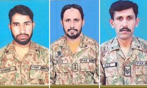 (L-R) Sepoy Shahid Mansib from Abbottabad, Subedar Mohammad Riaz from Jhang and Lance Havaldar Aziz Ullah from Noshero Feroz embraced martyrdom. — Photo courtesy: ISPR