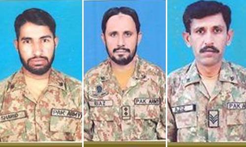 (L-R) Sepoy Shahid Mansib from Abbottabad, Subedar Mohammad Riaz from Jhang and Lance Havaldar Aziz Ullah from Noshero Feroz embraced martyrdom. — Photo courtesy: ISPR