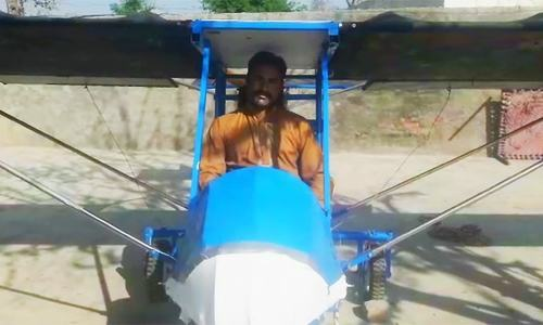 """I became familiar with the parts of an airplane and their functioning and started working on my project some one and a half years ago,"" says Muhammad Fayyaz. ─ DawnNewsTV"