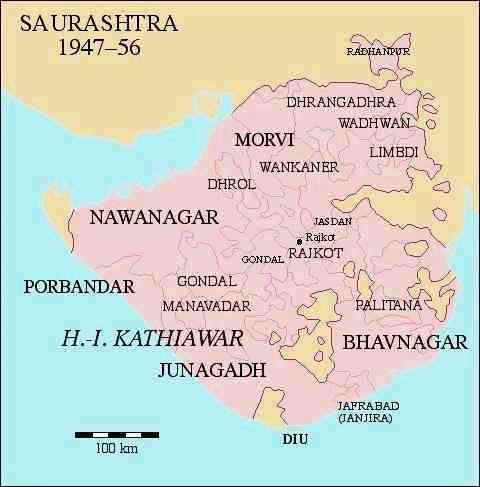 A map of Saurashtra in the late 1940s to early 1950s, showing the areas where Bhupat was active.—Dr Andreas Birken/Wikimedia Commons