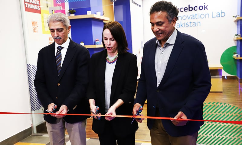 From left to right: LUMS Rector Shahid Hussain, Jason Lin, head of Startup Programmes, Facebook. Ignite CEO Yusuf Hussain inaugurate the Facebook  Innovation Lab.— Photo Release