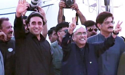 PPP chairperson Bilawal Bhutto-Zardari and former president Asif Ali Zardari in Garhi Khuda Bakhsh on Z.A Bhutto's death anniversary. — DawnNewsTV Screengrab
